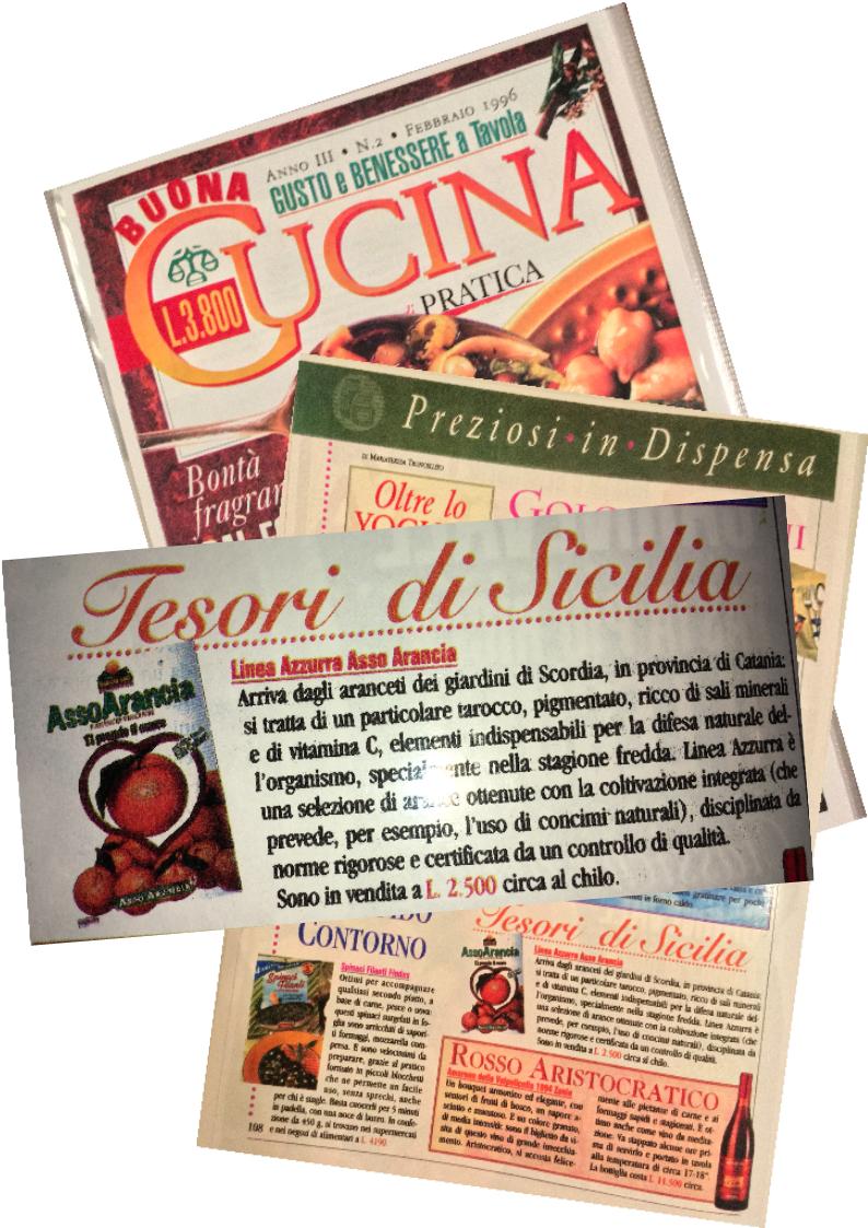 Arance di Sicilia  e  Agrumi SIciliani  pubblicità riviste anni '90