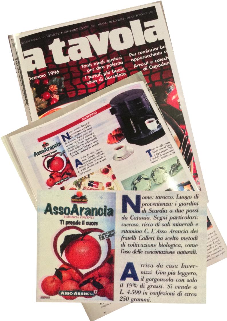 Arance Siciliane  Asso  e   Agrumi di Sicilia pubblicità riviste anni '90